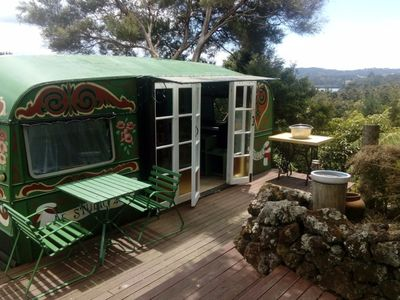 Photo for PEACOCK HILL Romantic eco retreat in gypsy caravan