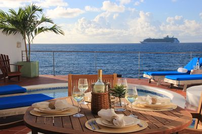 5-Star Rated Villa Velaire, Private Oceanfront Living in Beautiful St. Maarten.