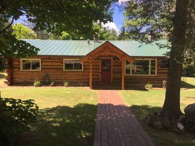Authentic Log Cabin Directly on Ontonagon River and Snowmobile Trail