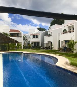 Photo for 2-level house in PLAYACAR residence area. Jacuzzi + Pool + Parking