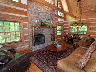 Photo for 3BR Cabin, Hot Tub, Fishing Ponds, Pool Table, King Suite wJetted Tub, by Skiing