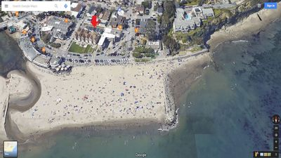 Red arrow indicates charming cottage. That is just steps to the Beach!