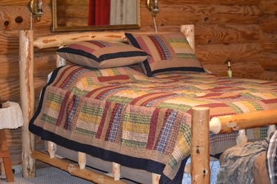 Log Queen Bed with a homey feel.