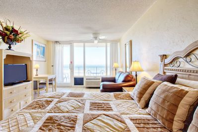 Inviting and warm ocean front condo.