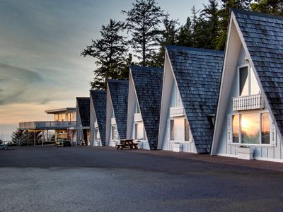 Photo for Dog-friendly, oceanfront A-frame chalet with view, loft, and room for six!