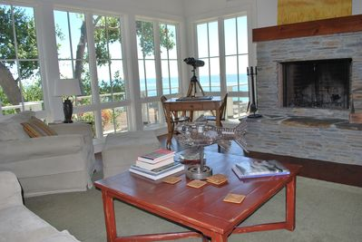 Enjoy the view from the overstuffed sofas while relaxing in front of the fire.
