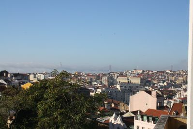 The Tage, the Christ the Rey statue, and the 25 de Abril Bridge can be seen from