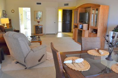 Spacious, open living room and dining room