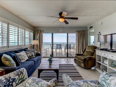 Newly remodled 5th Floor 2 Bed/2 Bath Oceanfront condo with beautiful views! Sleeps 6.  W/D, pool, tennis, community grills and private fishing pier!