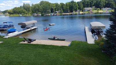 Kayaks and paddleboards as well as pontoon and speedboat are available.