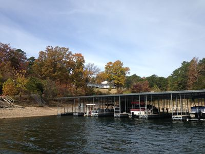 view from lake of house & boat dock