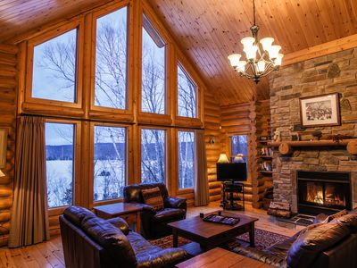Photo for Lakefront log home with private hot tub, sauna, billiards & canoe - sleeps 8