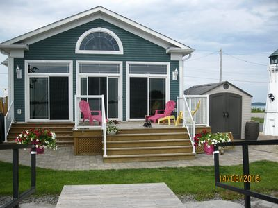Front of house with large deck