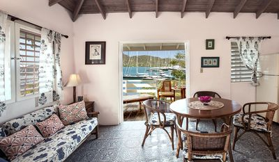 Bright Studio with a great verandah and fantastic views over Falmouth Harbour.