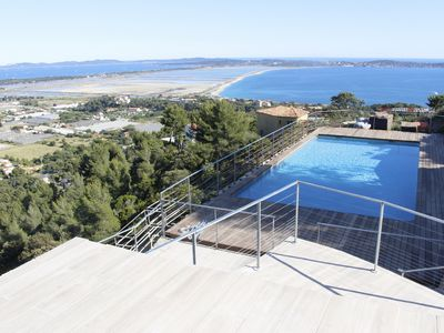 Photo for Villa and outbuildings - Magnificent sea view Hyères islands 180 °, swimming pool 6 * 12m