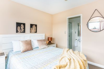 The master bedroom. Comes with a luxury Queen bed and an ensuite bathroom.