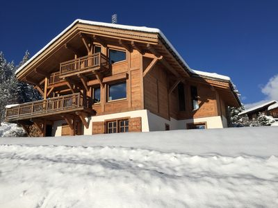 Photo for Chalet on the top of Combloux. Exceptional view Mont Blanc. Near Megève