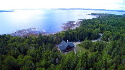 Photo for Bear Beach Maine! Oceanfront Log Cabin, Secluded Sandy Beach, Sunsets & Sauna