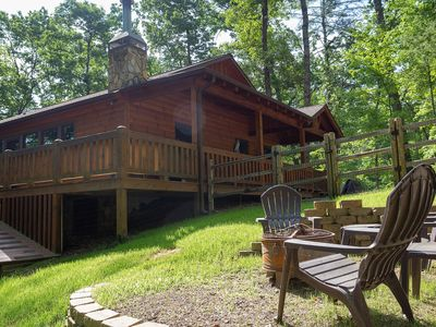 Photo for Dog-friendly cabin with private hot tub, fenced yard, and gorgeous location!