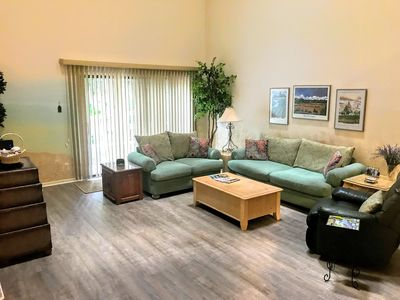 Living room with updated flooring