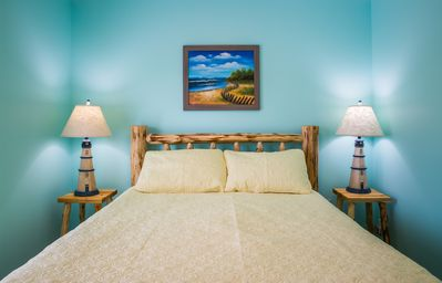Sleep comfortable on hand made pine beds with cotton sheets and comforters.
