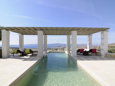 Photo for Beautiful Cycladic villa with magnificent views and private pool