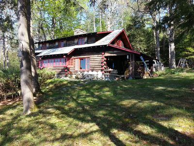 A real log cabin tucked away in the woods