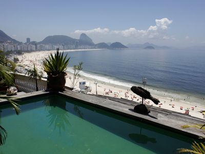 Photo for Rio392-Unique 3 bedroom penthouse with pool and garden on Copacabana beachfront