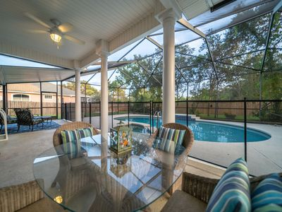 Photo for SEA-RENITY Pet-Friendly, Private Screened-In Heatable Pool & Close to the Beach