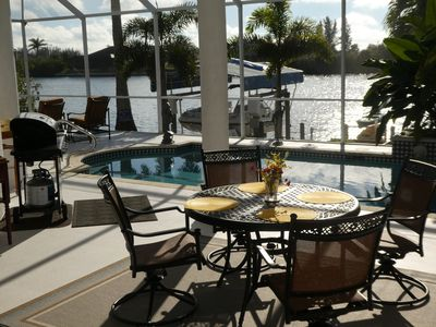 Pool area/lanai is southwest facing for glorious view and sunsets.  BBQ.