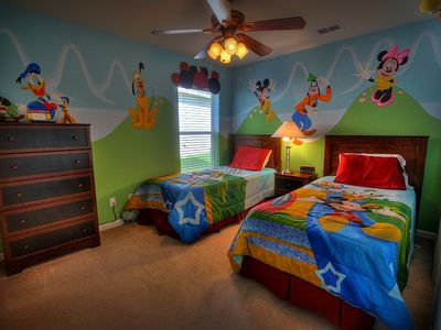 Photo for Disney-themed rooms with private pool/spa and games room