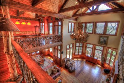 Overlook Estate Main Living Room from Upstairs