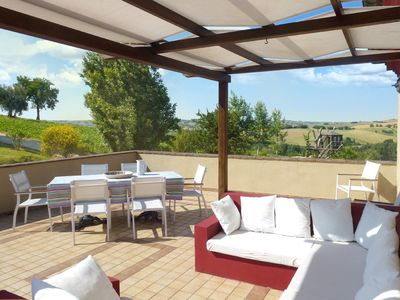 Photo for Casa-Montale 1 / 5Terrazza, typical country house, gr. Pool, secluded location, panoramic views