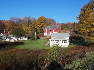 Photo for BOOK YOUR FALL WEEKEND NOW!  2  Farmhouses, 9 Acre Lake, 52 Acres, Sleeps 20