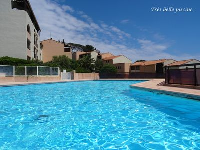 Photo for SEA FRONT Issambres T2 + cab direct access beach Gaillarde, swimming pools, tennis