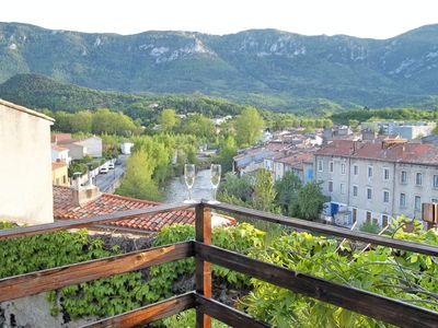 Photo for 15thc Oak Beamed Cottage with stunning views of Old Town, River Aude & Pyrenees