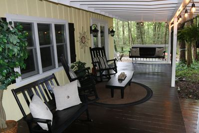 Relax, Swing, and Rock on the Covered Porch Overlooking Creek in All Weather