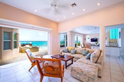 Lounge around the comfy living room and enjoy the Caribbean views.