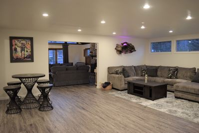 Large family room with game table