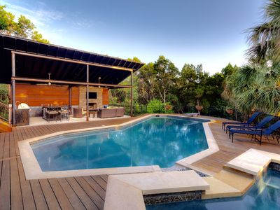 Photo for OUTDOOR OASIS*  5Bed/4.5 Bth, POOL, HOT TUB, CABANA w/outdoor kitchen. Sleeps 8