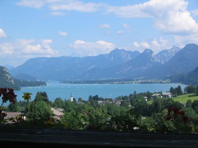 A view of Lake Wolfgang, looking down the lake to Strobl.