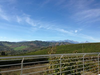 View of Gran Sasso Mountain and wineyard sitting on the terrace