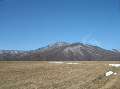 View of Old Rag Mountain from front field