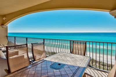 Adagio A304 view of the gulf - Your Friend at the Beach knows you will be delighted with the new balcony furniture in the designer-owned and decorated four bedroom condo at Adagio. New balcony furniture just arrived in late 2017.