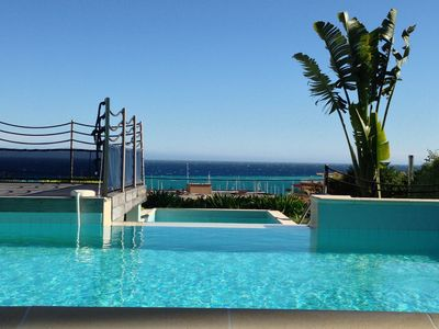 Photo for Lovely Apartment, Private Garden, Pool, Panoramic Mediterranean Views
