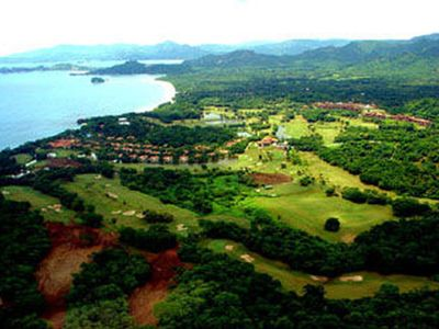 Aerial view of Reserva Conchal golf course adjacent to our condo property
