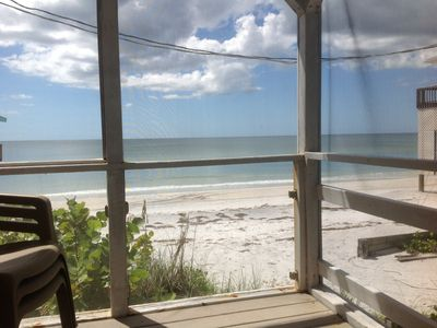 Porch looking onto beach !