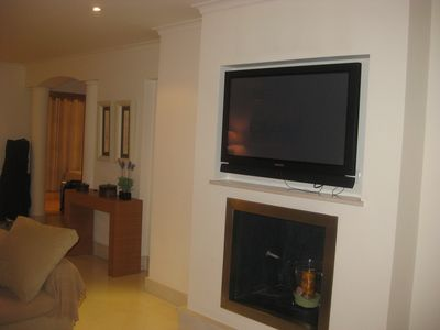 Large flat screen TV with  all Sky  English channels