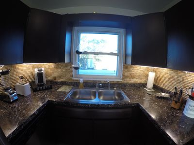 Kitchen with full size appliances with keurig