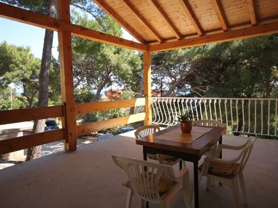 Photo for One bedroom apartment with terrace and sea view Sveta Nedilja, Hvar (A-8725-b)